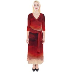 Flaming Skies Ominous Fire Clouds Quarter Sleeve Wrap Maxi Dress