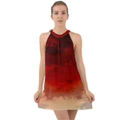 Flaming Skies Ominous Fire Clouds Halter Tie Back Chiffon Dress