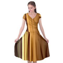 Course Gold Golden Background Cap Sleeve Wrap Front Dress