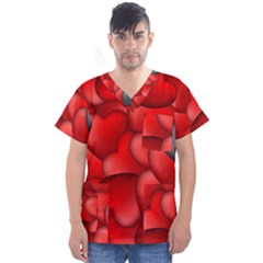 Form Love Pattern Background Men s V Neck Scrub Top