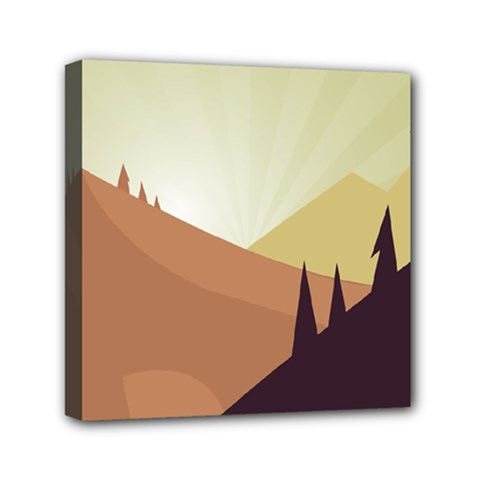 Sky Art Silhouette Panoramic Mini Canvas 6  X 6  by Sapixe