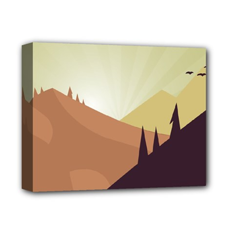 Sky Art Silhouette Panoramic Deluxe Canvas 14  X 11  by Sapixe