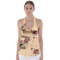 Flower Traditional Chinese Painting Babydoll Tankini Top by Sapixe