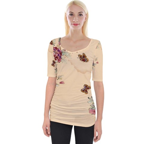 Flower Traditional Chinese Painting Wide Neckline Tee by Sapixe