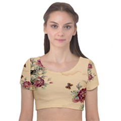 Flower Traditional Chinese Painting Velvet Short Sleeve Crop Top  by Sapixe
