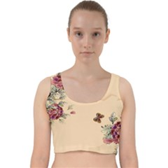 Flower Traditional Chinese Painting Velvet Racer Back Crop Top by Sapixe