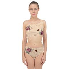 Flower Traditional Chinese Painting Spliced Up Two Piece Swimsuit