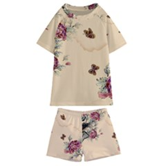 Flower Traditional Chinese Painting Kids  Swim Tee And Shorts Set