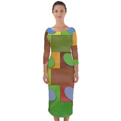 Easter Egg Happy Easter Colorful Quarter Sleeve Midi Bodycon Dress