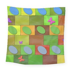 Easter Egg Happy Easter Colorful Square Tapestry (large) by Sapixe