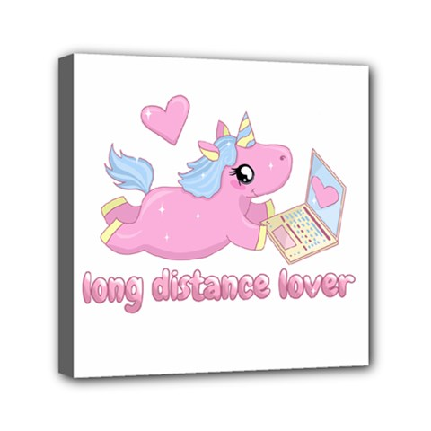 Long Distance Lover   Cute Unicorn Mini Canvas 6  X 6  by Valentinaart