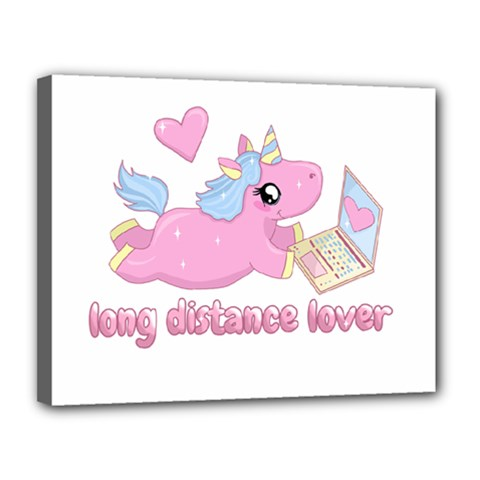 Long Distance Lover   Cute Unicorn Canvas 14  X 11  by Valentinaart