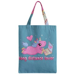 Long Distance Lover   Cute Unicorn Zipper Classic Tote Bag by Valentinaart