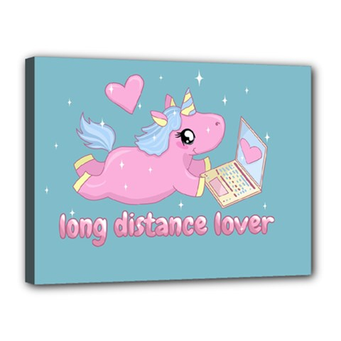 Long Distance Lover   Cute Unicorn Canvas 16  X 12  by Valentinaart