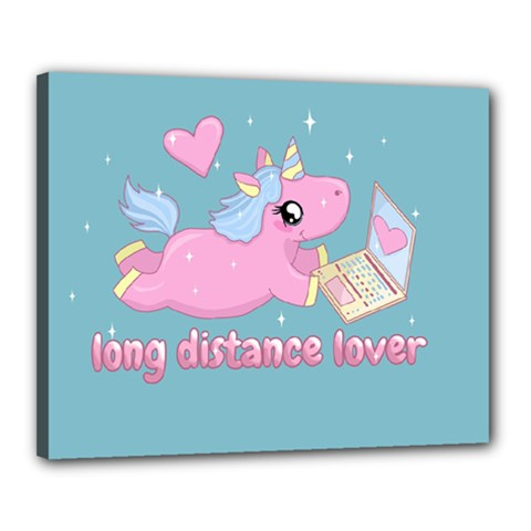 Long Distance Lover   Cute Unicorn Canvas 20  X 16  by Valentinaart