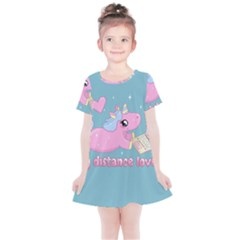 Long Distance Lover   Cute Unicorn Kids  Simple Cotton Dress by Valentinaart