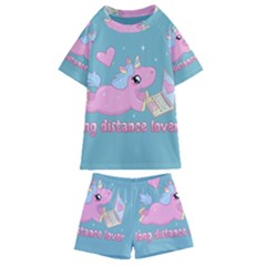Long Distance Lover   Cute Unicorn Kids  Swim Tee And Shorts Set