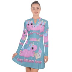 Long Distance Lover   Cute Unicorn Long Sleeve Panel Dress
