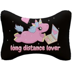 Long Distance Lover   Cute Unicorn Seat Head Rest Cushion by Valentinaart