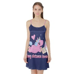 Long Distance Lover   Cute Unicorn Satin Night Slip by Valentinaart