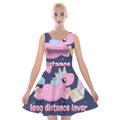 Long Distance Lover   Cute Unicorn Velvet Skater Dress