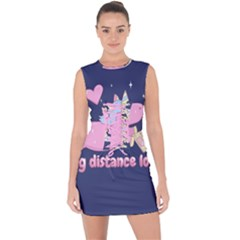 Long Distance Lover   Cute Unicorn Lace Up Front Bodycon Dress