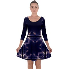 Cosmos Kaleidoscope Art Pattern Quarter Sleeve Skater Dress