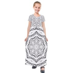Mandala Pattern Floral Kids  Short Sleeve Maxi Dress by Sapixe