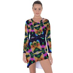 Butterfly Color Pop Art Asymmetric Cut Out Shift Dress