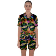 Butterfly Color Pop Art Satin Short Sleeve Pyjamas Set by Sapixe
