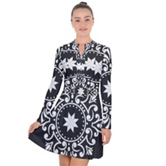 Table Pull Out Computer Graphics Long Sleeve Panel Dress