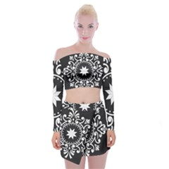 Table Pull Out Computer Graphics Off Shoulder Top With Mini Skirt Set