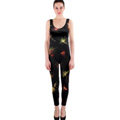 Fireworks Christmas Night Dark One Piece Catsuit