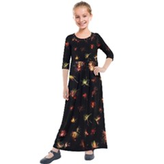 Fireworks Christmas Night Dark Kids  Quarter Sleeve Maxi Dress by Sapixe