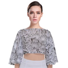 Pattern Motif Decor Tie Back Butterfly Sleeve Chiffon Top
