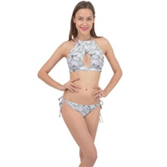 Pattern Motif Decor Cross Front Halter Bikini Set