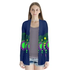 Flower Power Flowers Ornament Drape Collar Cardigan by Sapixe