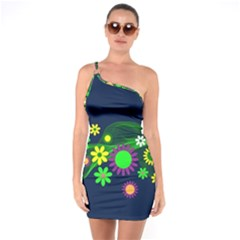 Flower Power Flowers Ornament One Soulder Bodycon Dress