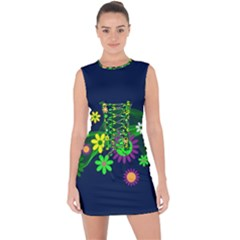 Flower Power Flowers Ornament Lace Up Front Bodycon Dress by Sapixe
