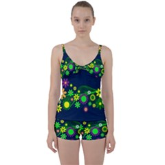 Flower Power Flowers Ornament Tie Front Two Piece Tankini by Sapixe