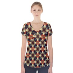 Kaleidoscope Image Background Short Sleeve Front Detail Top by Sapixe