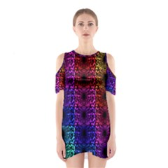 Rainbow Grid Form Abstract Shoulder Cutout One Piece