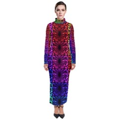 Rainbow Grid Form Abstract Turtleneck Maxi Dress