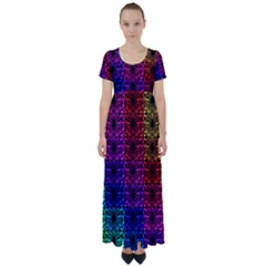 Rainbow Grid Form Abstract High Waist Short Sleeve Maxi Dress