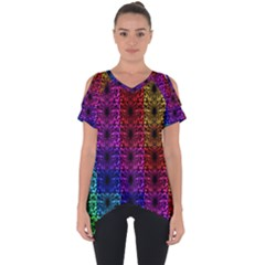 Rainbow Grid Form Abstract Cut Out Side Drop Tee by Sapixe
