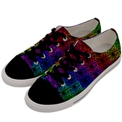 Rainbow Grid Form Abstract Men s Low Top Canvas Sneakers by Sapixe
