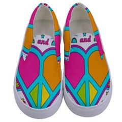 Love Peace Feelings Nature Kids  Canvas Slip Ons