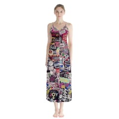 Sticker Wall Color Paper Decoration Button Up Chiffon Maxi Dress