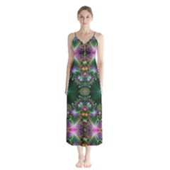 Kaleidoscope Digital Kaleidoscope Button Up Chiffon Maxi Dress