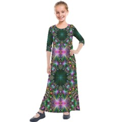Kaleidoscope Digital Kaleidoscope Kids  Quarter Sleeve Maxi Dress